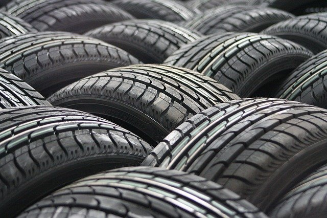 A close up of a group of tyres